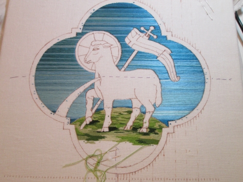 Complete Blue Sky Background on Small Agnus Dei Embroidery Project