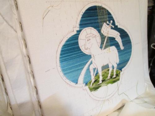 Gold Passing Thread over Flat Silk on Agnus Dei Embroidery Design