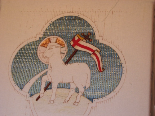 Goldwork Passing thread completed on Sky of Agnus Dei Embroidery Project