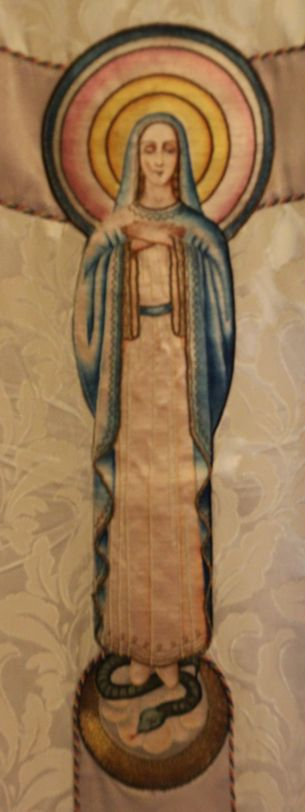 Embroidered figure on Chasuble orphrey