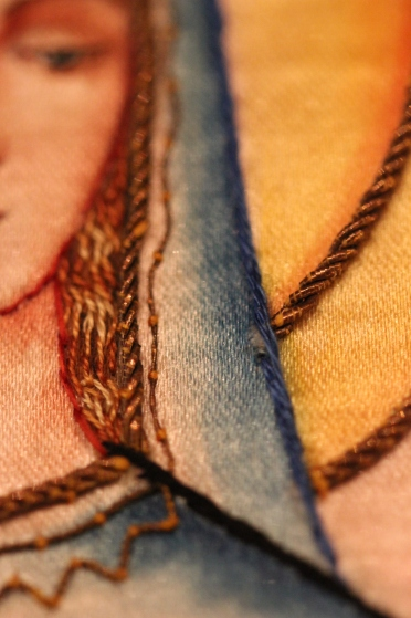 Stitching detail for hair