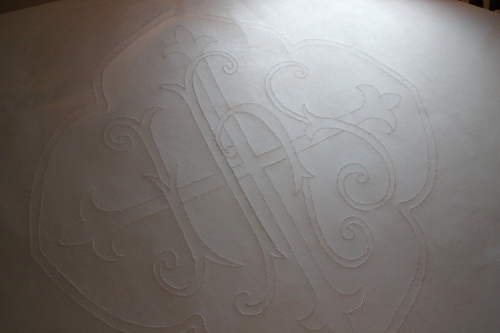 IHS Ecclesiastical Embroidery Design on Tracing Vellum ready for transfer