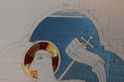 Nearing the end of the upper sky on the Angus Dei Ecclesiastical Embroidery Project