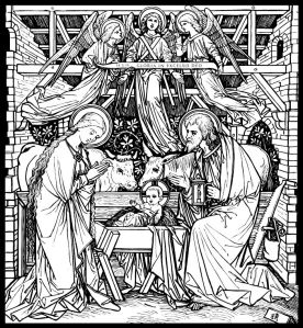 The Nativity From Catholic Missal - Line Art