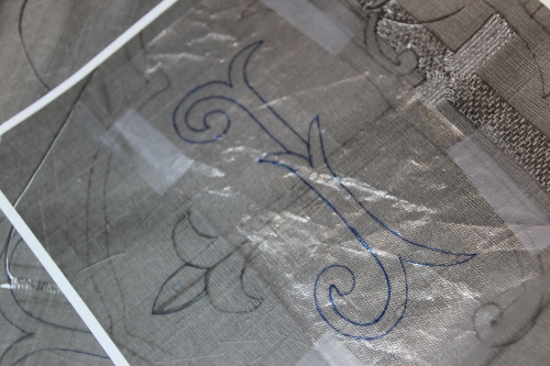 Tracing IHS Embroidery Design with Clear Fuse