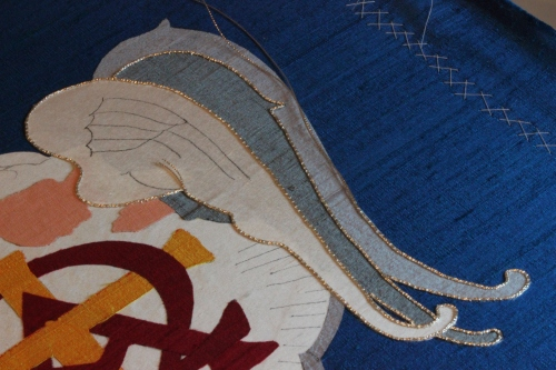 Angel Wing Outline with couched Silver Check Thread