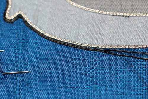 Two Strands of No. 5 Japan Thread used as outline couching
