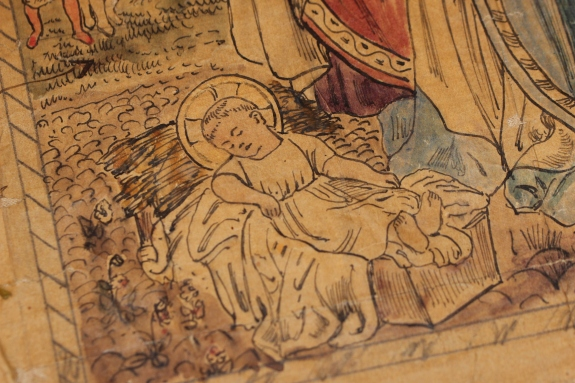 Christ Child in a Manger Ecclesiastical Embroidery by John D Sedding 1874