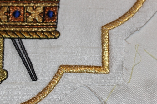 Preparing Ecclesiastical Machine Embroidered Motif for applying to silk