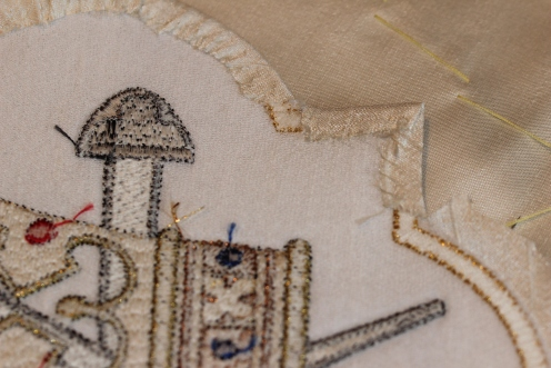 Stitching edge on Ecclesiastical Embroidery Motif
