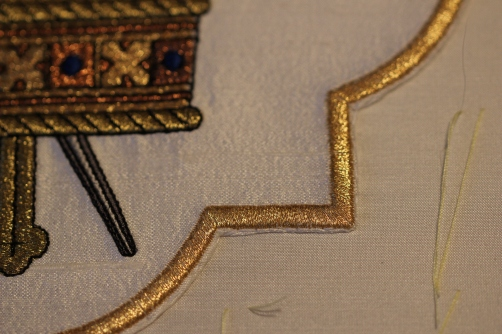 Machine Embroidery motif stitched in place