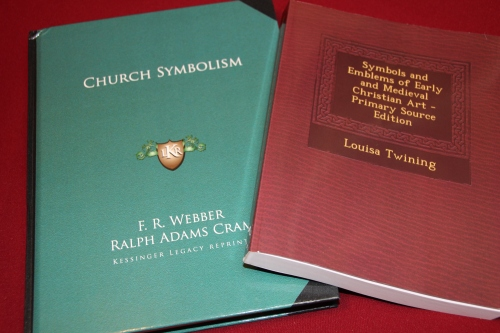 Church Symbolism by F.R. Webber and Symbols and Emblems of Early and Medieval Christian Art by Louisa Twining
