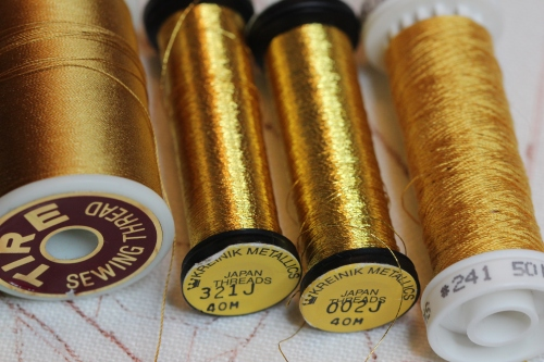 Tyre silk, Kreinik Japan Thread size 1, Soie 100/3 color 241: threads used for couching goldwork