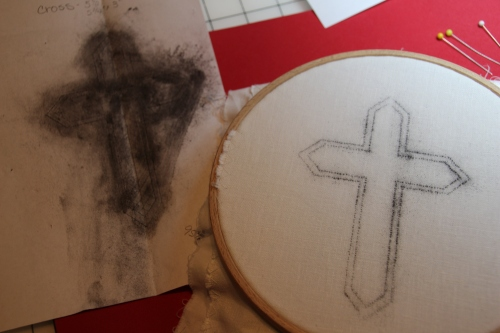 Prick and Pounce Embroidery Transfer Passion Cross Design