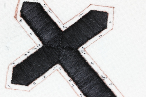 Black Passion Cross with Flat silk stitching completed