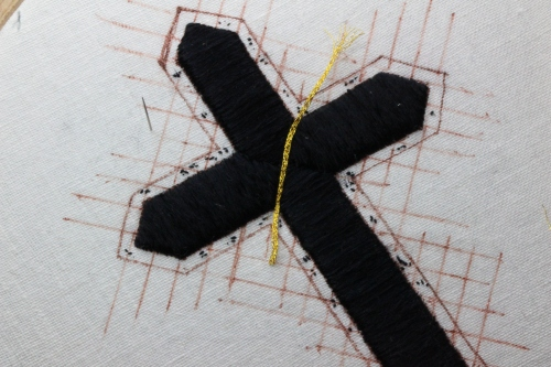 Hand Embroidered Passion Cross for Ash Wednesday