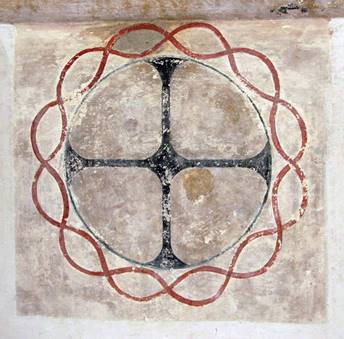 Design of Cross in circle surrounded by what might be a crown without the thorns
