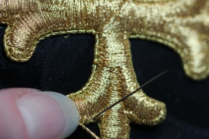 Couching Gold Cross in place with Gold Twist