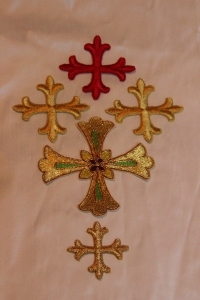 Pre-made cross appliques in rayon and metallic