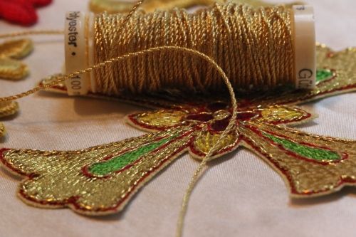 Cross Applique and Gold Twist Thread