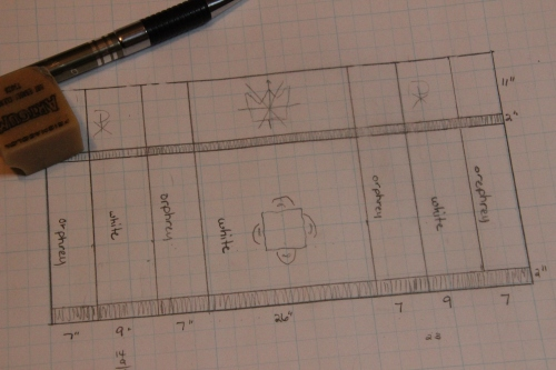 Scale Drawing of Ecclesiastical Altar Frontal on Graph Paper