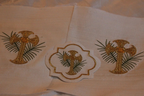 Ecclesiastical Machine Embroidery Palm and Cross Design on Silk Dupioni
