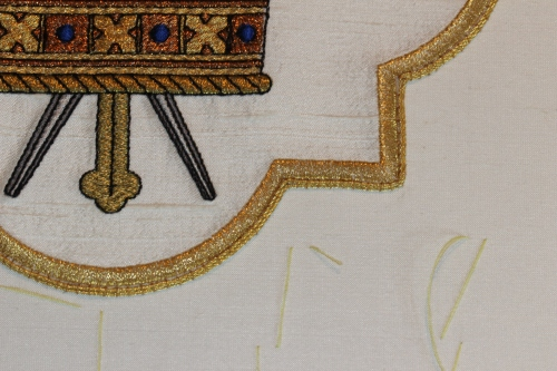 Goldwork Twist Couching on Ecclesiastical Machine Embroidery