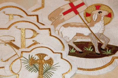 Ecclesiastical Machine Embroidery Designs waiting to be hemmed