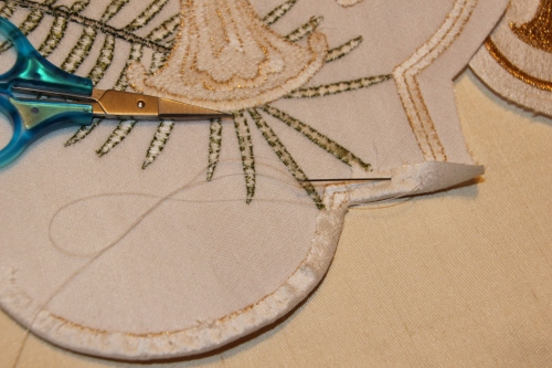 Ecclesiastical Machine Embroidery Motif being hemmed