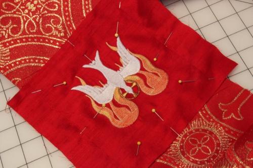 Machine Embroidered Dove for Pentecost