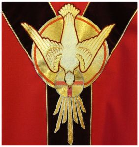 Embroidered Dove on Pentecost Chasuble