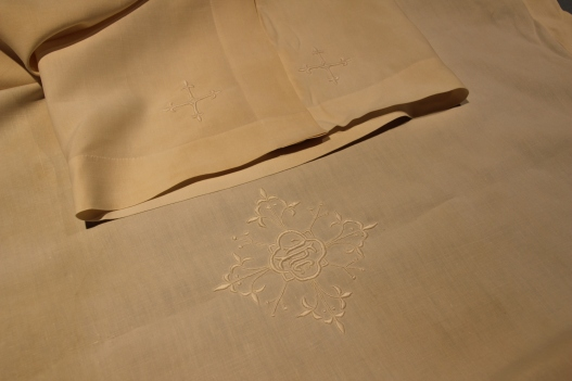 Fair Linen with hand embroidered design done in whitework
