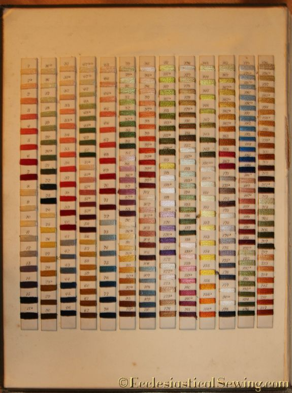 Silk Thread Color Card from Designs for Church Embroidery