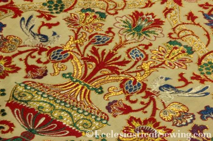 Aragon Red Lurex Liturgical Tapestry Fabric