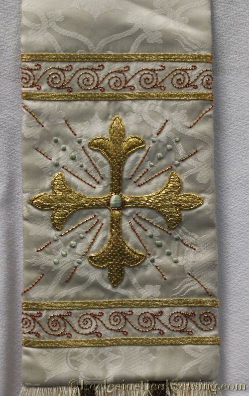 Vintage Clergy Stole With Goldwork Embroidery