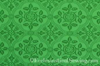 Cloister Liturgical Fabric-Green Rose