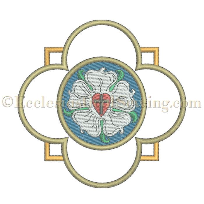 Ecclesiastical Sewingluther Rose In Quatrefoil Frame 35 1achurch