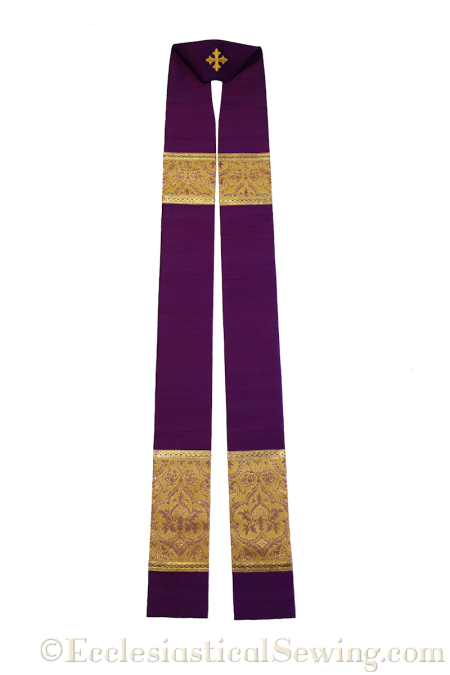 Pope Gregory Violet Silk Dupioni Priest Stole with Gold Trim
