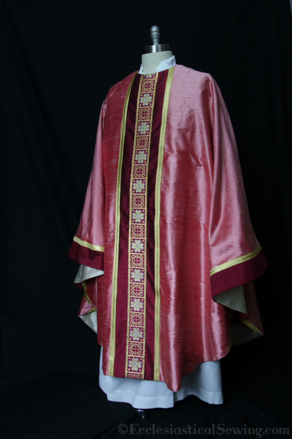 Rose vvestments St. Ignatius collection monastic chasuble church vestments Gaudete Sunday Lataera Sunday Rose chasuble Silk dupioni