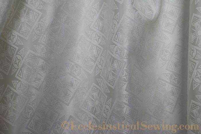 White Church Vestment Brocade Fabric
