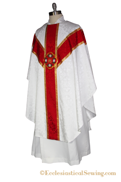 Gothig chasuble pattern with Y orphrey bands