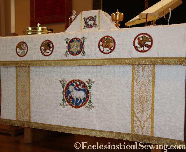 silk luther rose brocade gold metallic band Lamb of God flower Agnus Dei embroidery handwork needlework altar linen covering frontal apostles St. Matthew St. Mark St. Luke St. John fringe