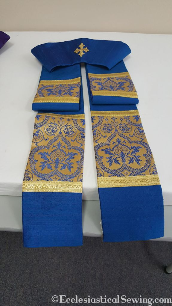 pastor stole liturgical garment vestment deep blue silk brocade embroidery cross needlework pattern floral gold trim