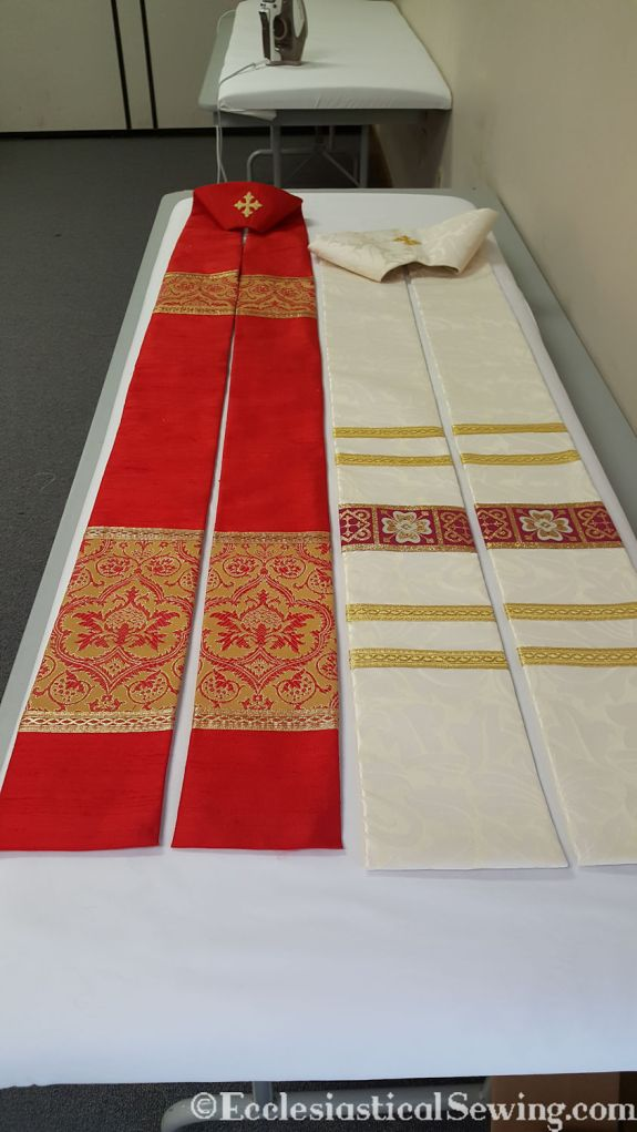 pastor stole liturgical garment vestment red silk brocade cream pattern floral gold trim