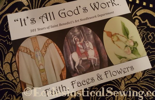 it's all God's Work Faith Faces and Flowers black and gold silk brocade