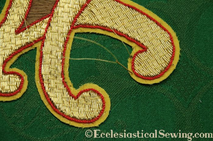 Alpha Omega Goldwork applique green silk brocade gold metallic embroidery how to sew for beginners tips and tricks design pattern