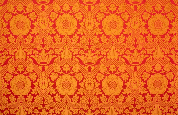 silk orange and red luther rose brocade by the yard Christian liturgical vestment sewing