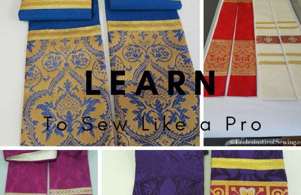 Liturgical arts conference canton Mississippi red silk dupioni pastoral pastor stole how to sew liturgical Church vestments blue silk brocade metallic gold magenta purple white red