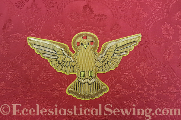 red silk brocade cross Christian symbol Bird applique hand embroidery goldwork metallic gold thread