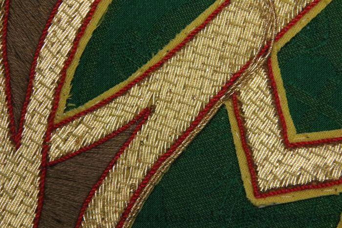 Alpha Omega Goldwork applique green silk brocade gold metallic embroidery how to sew for beginners tips and tricks